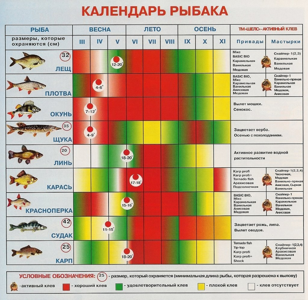календарь клева рыбы на 2020 год